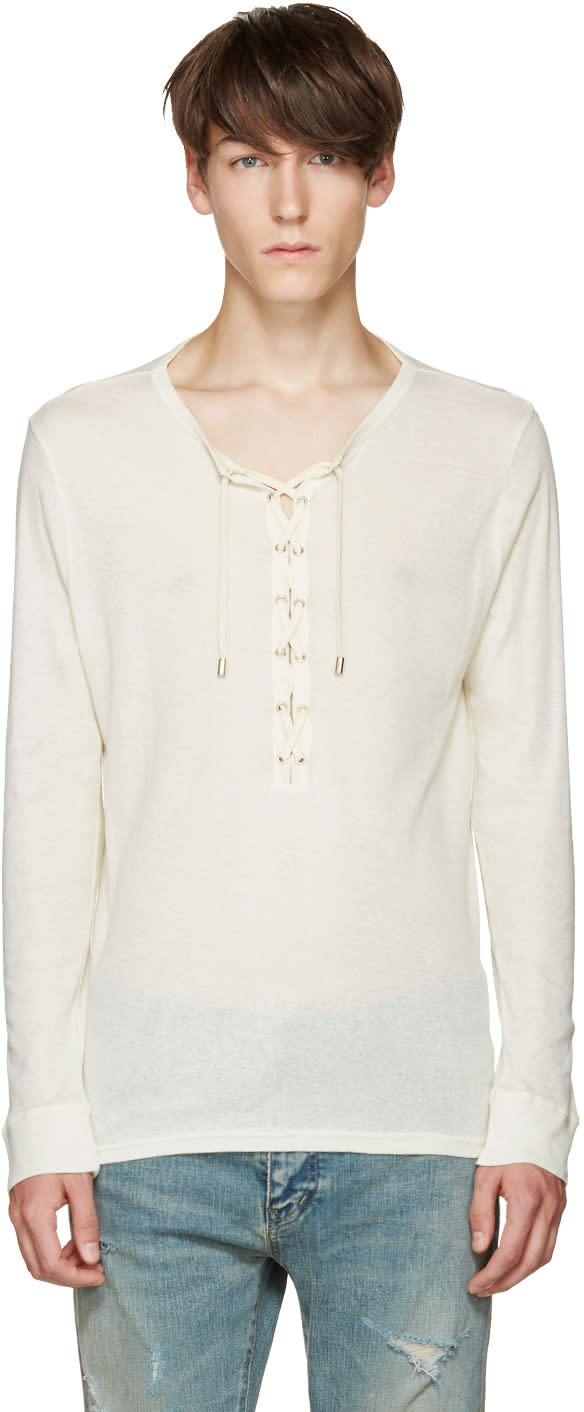 Balmain Off-white Lace-up T-shirt