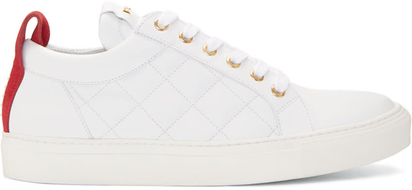 Balmain White Quilted Leather Sneakers