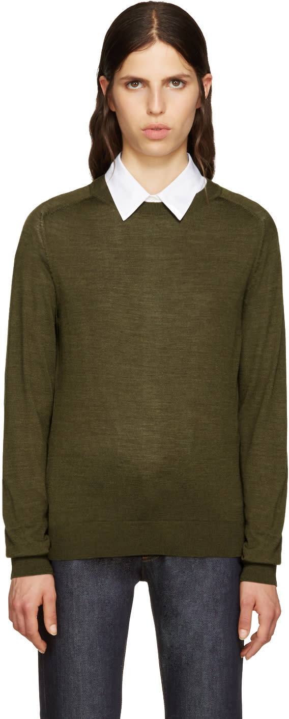 A.p.c. Green Wool Maud Pullover