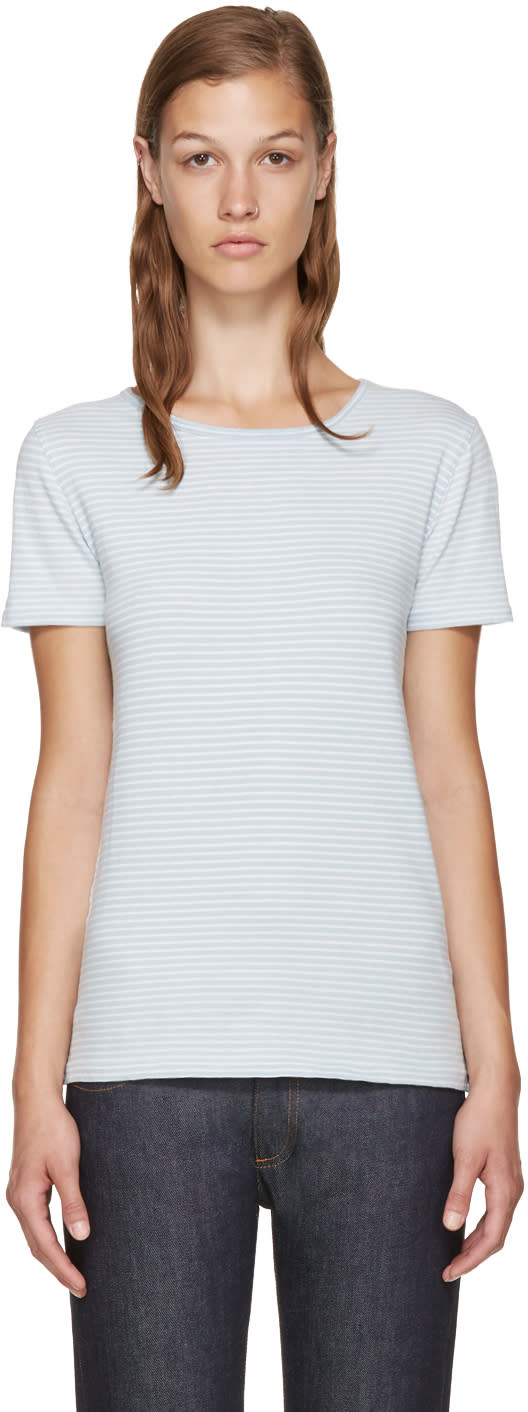 A.p.c. Blue and White Helen T-shirt