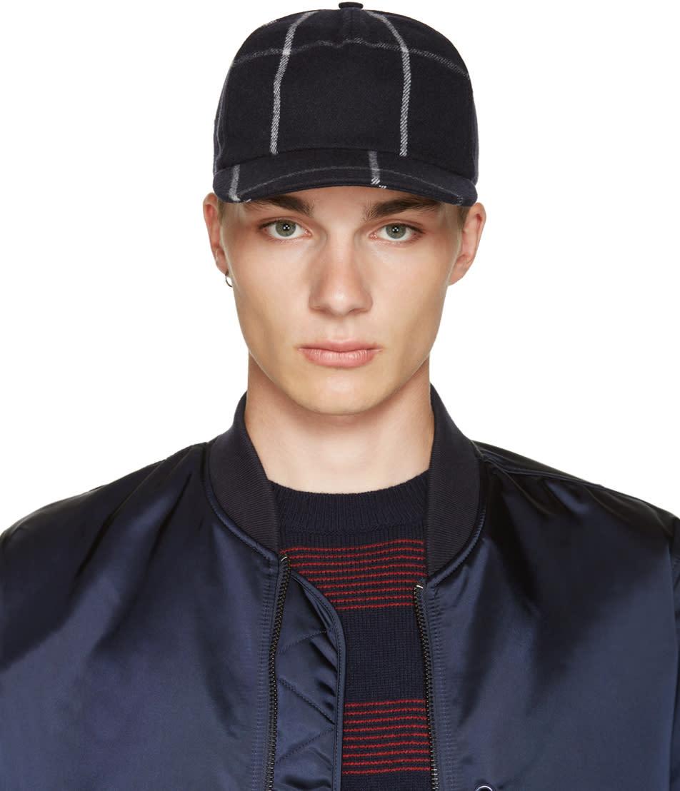 A.p.c. Navy Wool Check Cap