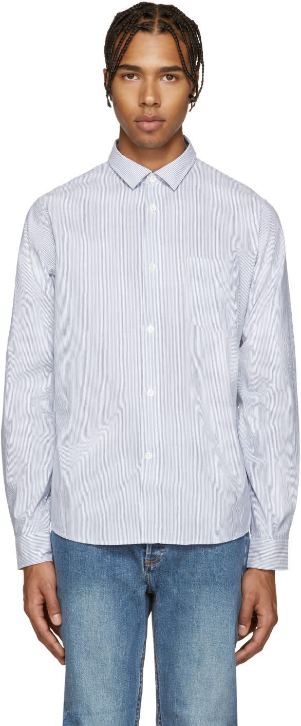 A.p.c. Blue Etienne Striped Shirt