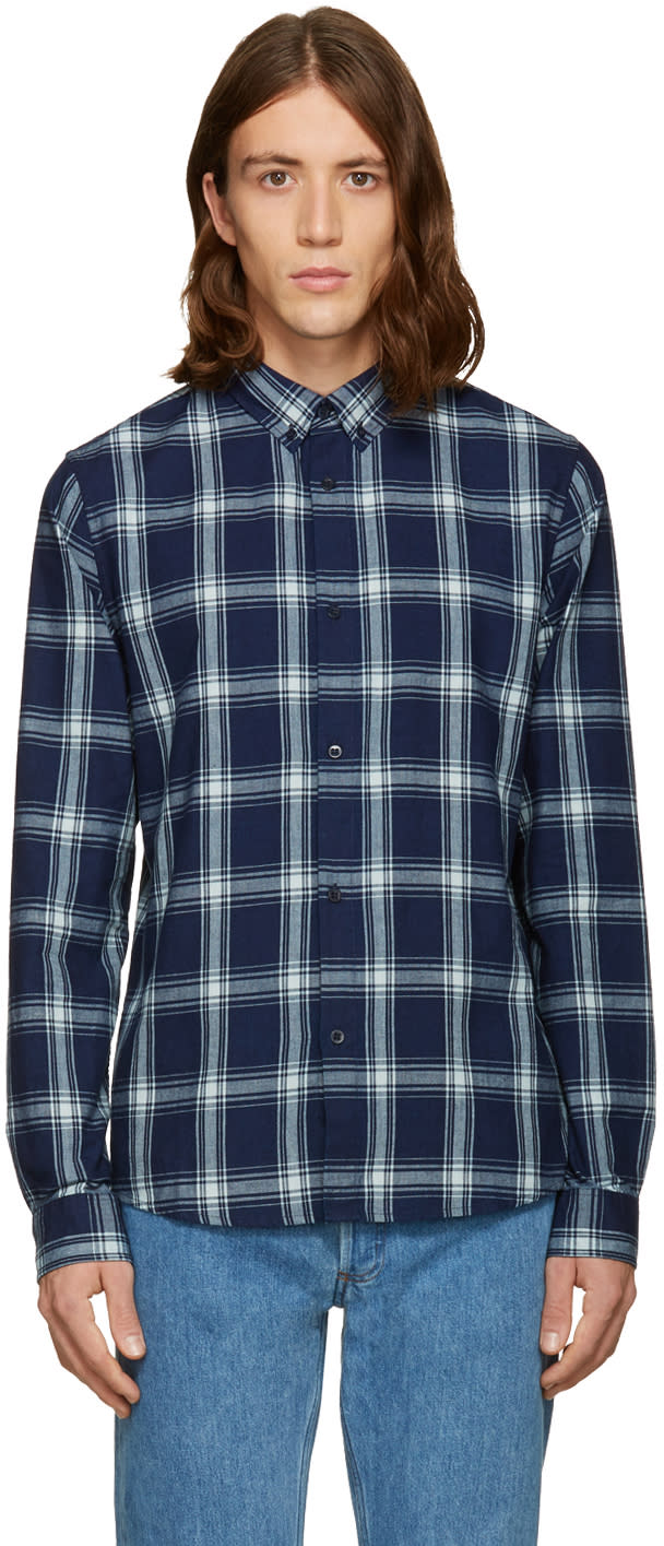 A.p.c. Navy Twill Plaid Shirt