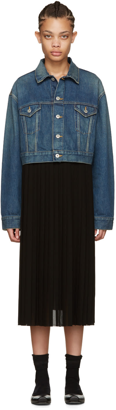 Junya Watanabe Indigo Denim Contrast Dress