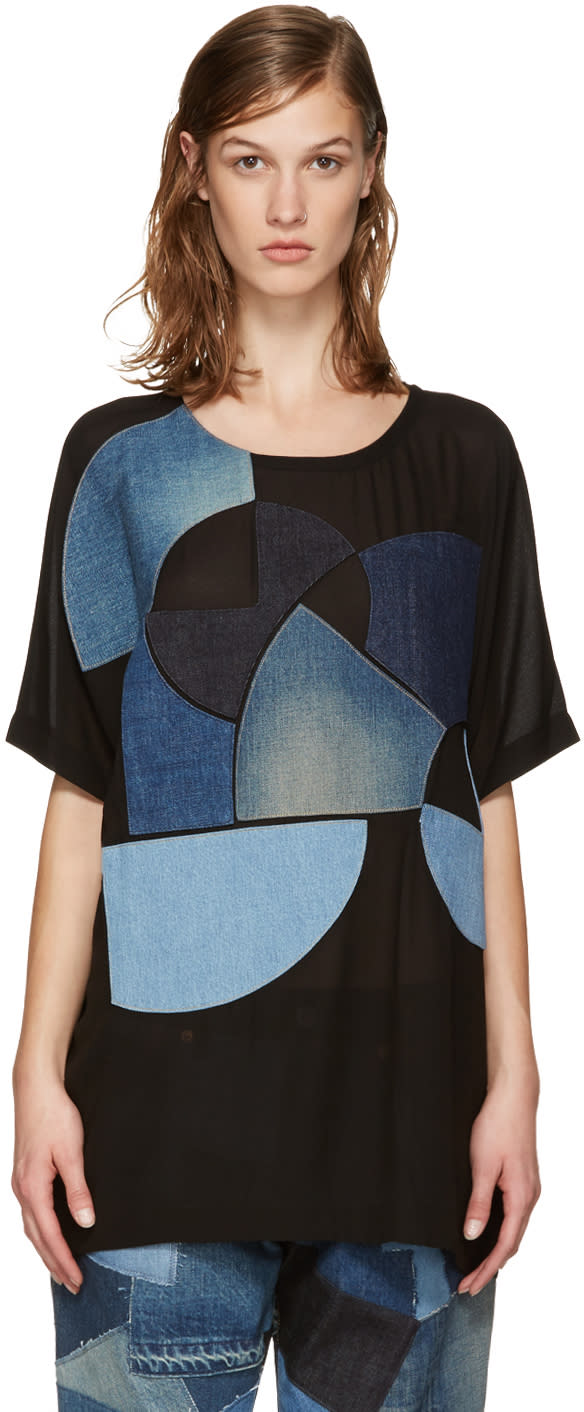 Junya Watanabe Black Denim Patches T-shirt