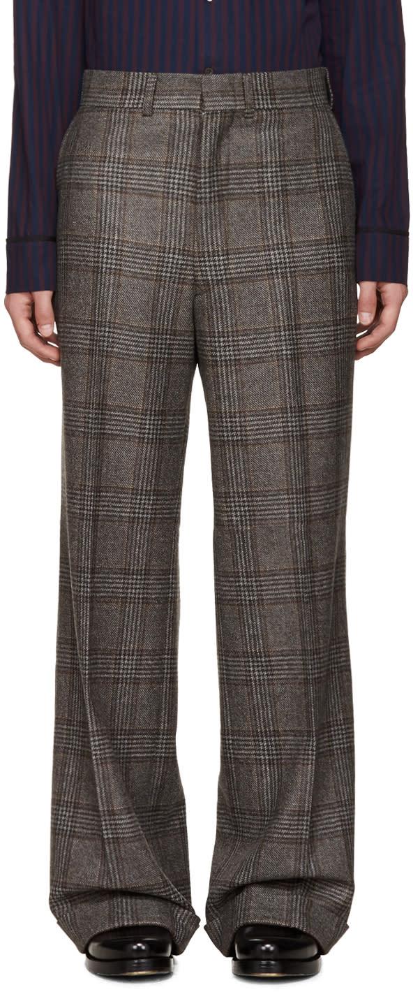 Junya Watanabe Brown Wool Glencheck Trousers