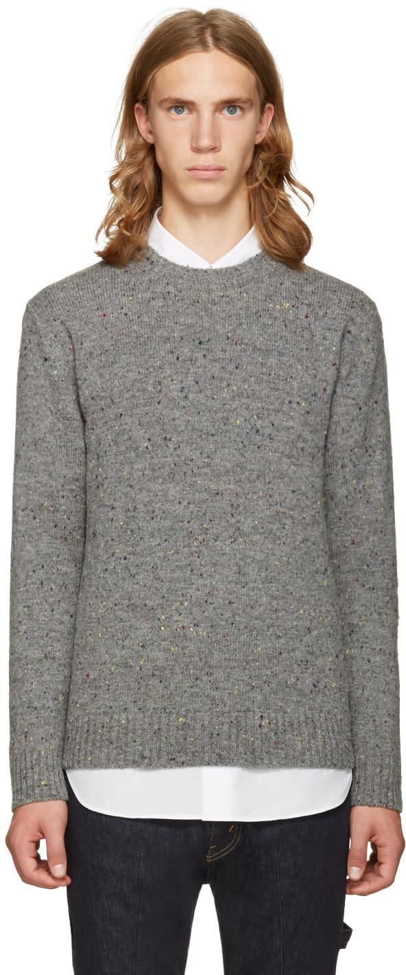 Junya Watanabe Gray and Black Shetland Tweed Sweater