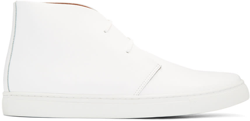 Junya Watanabe White Leather High-top Sneakers