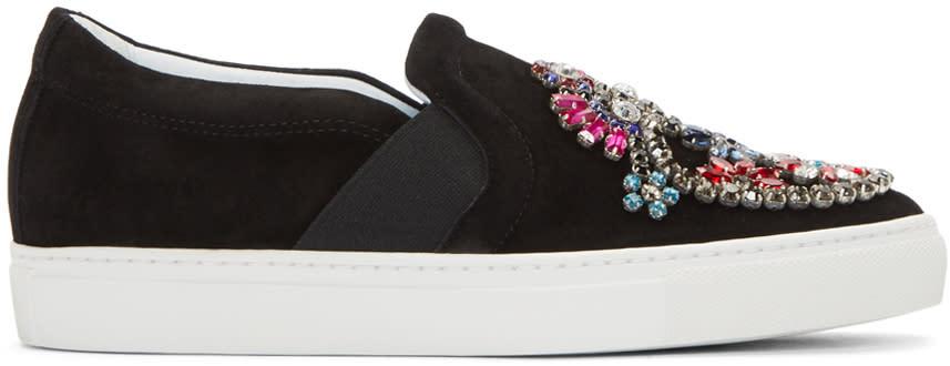 Lanvin Black Embellished Slip-on Sneakers