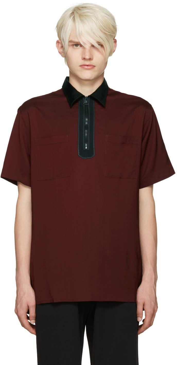 Lanvin Burgundy Half-zip Polo