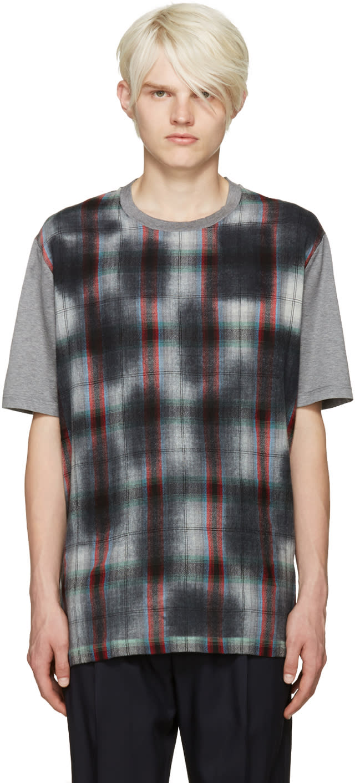 Lanvin Grey Plaid Front T-shirt