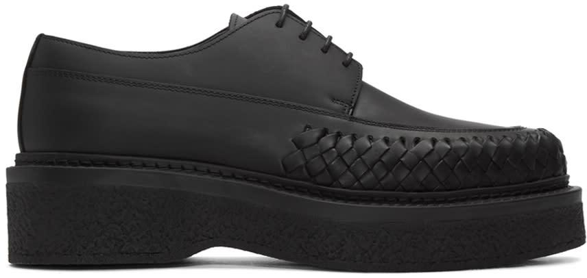 Lanvin Black Woven Leather Derbys