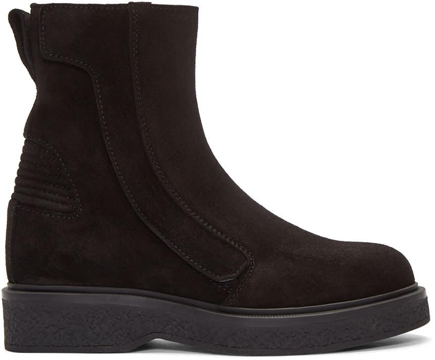 Lanvin Black Suede Zip-up Boots