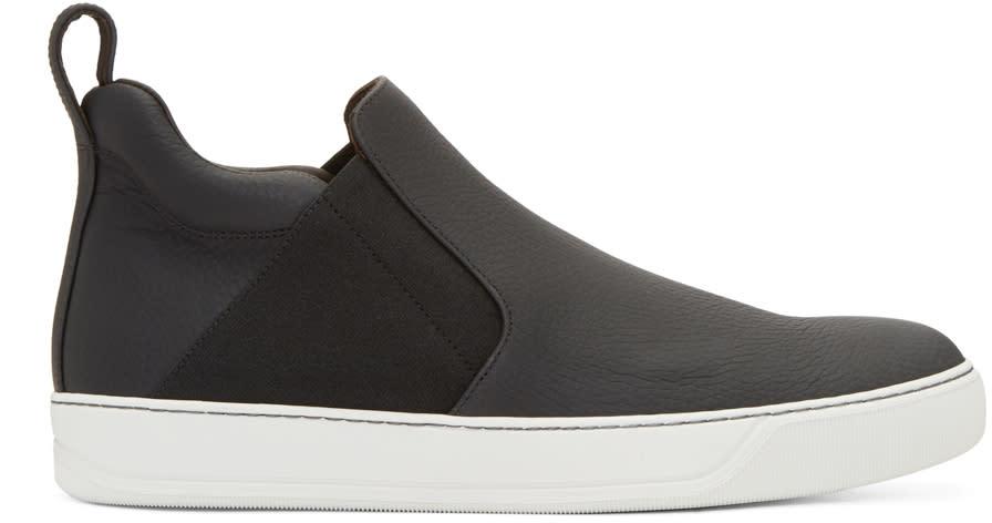 Lanvin Black Leather Slip-on Sneakers