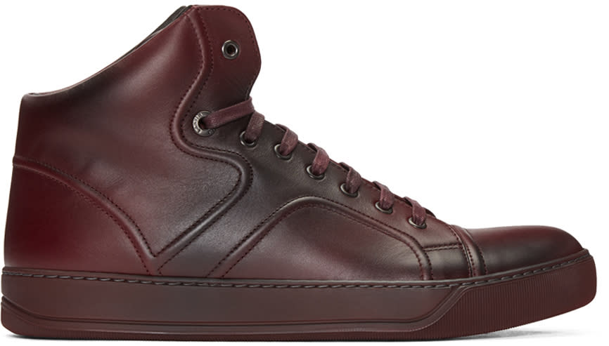 Lanvin Red Leather Mid-top Sneakers