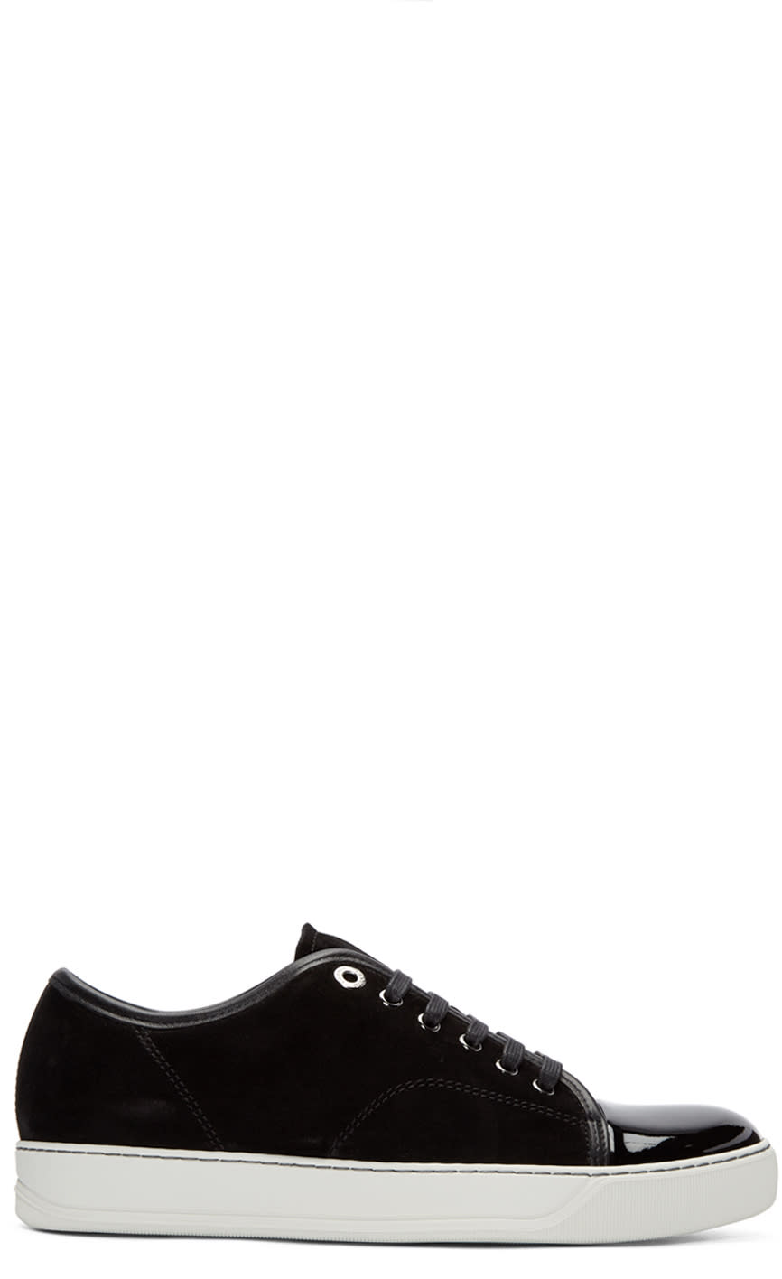 Lanvin Black Suede Tennis Sneakers