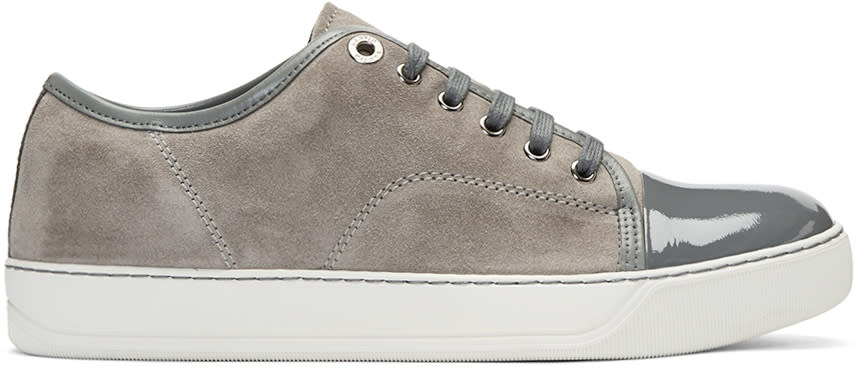 Lanvin Grey Suede Classic Tennis Sneakers