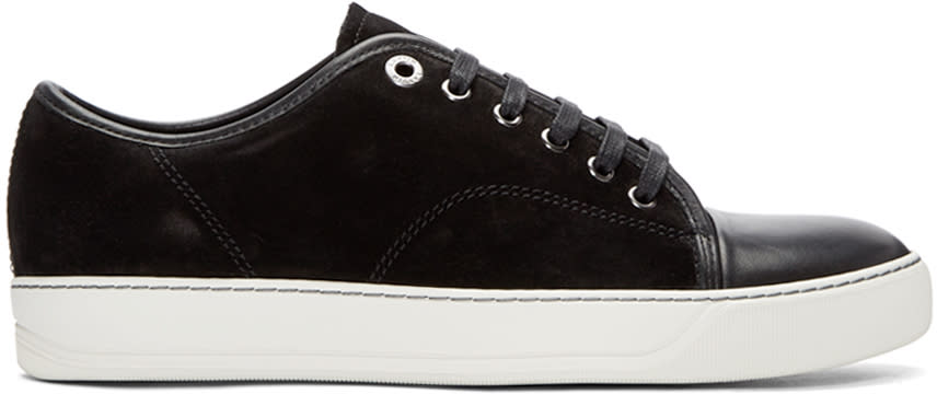 Lanvin Black Leather and Nubuck Classic Tennis Sneakers