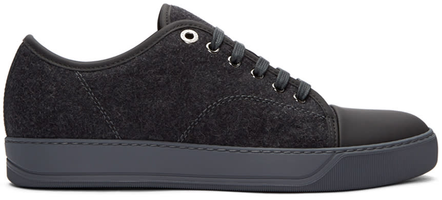Lanvin Grey Felt Tennis Sneakers