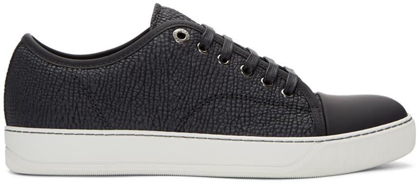 Lanvin Black Shark-embossed Leather Sneakers