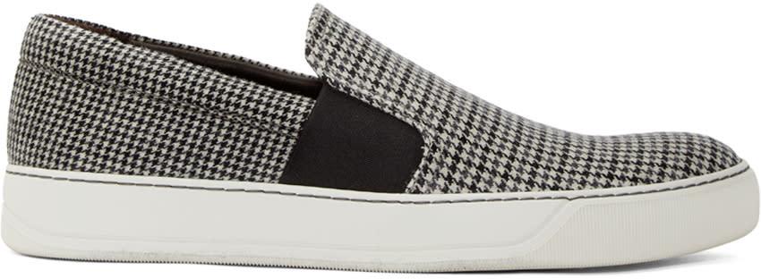 Lanvin White Wool Herringbone Slip-on Sneakers