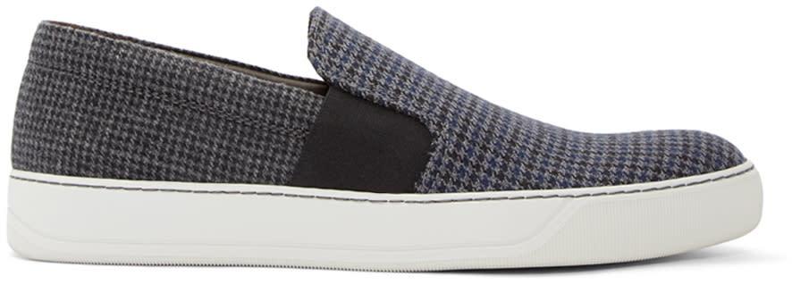 Lanvin Grey Wool Herringbone Slip-on Sneakers