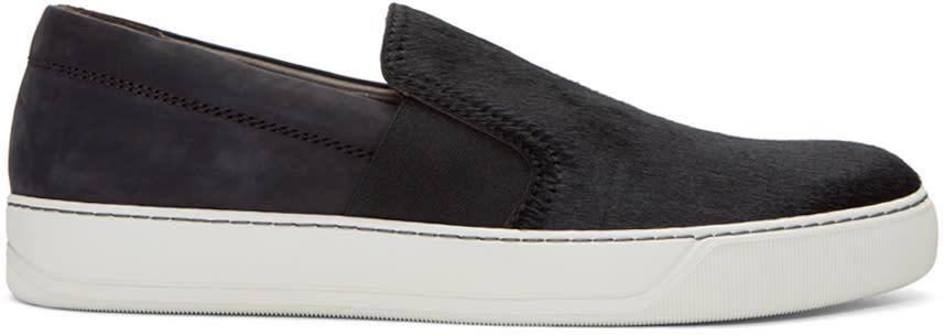 Lanvin Black Calf-hair Slip-on Sneakers