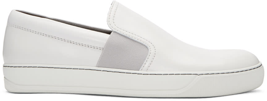 Lanvin White Leather Slip-on Sneakers