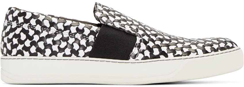 Lanvin Black and White Woven Slip-on Sneakers