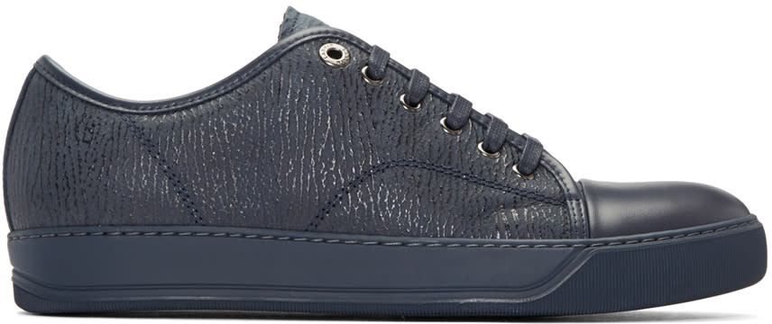 Lanvin Navy Textured Leather Sneakers