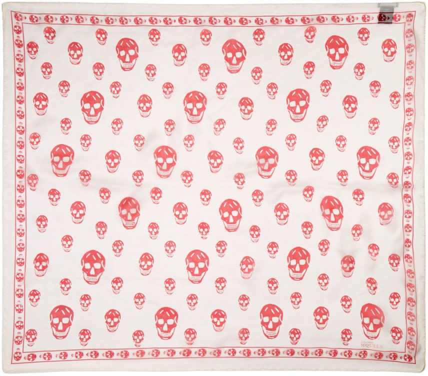 Alexander Mcqueen Ivory and Red Skull Scarf