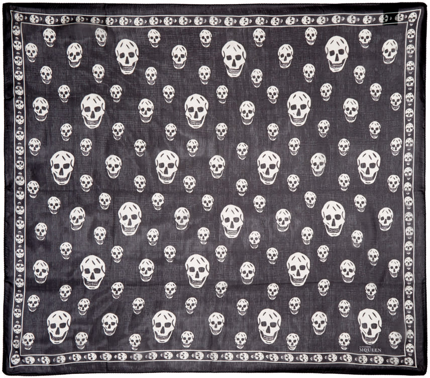Alexander Mcqueen Black and Ivory Skull Scarf