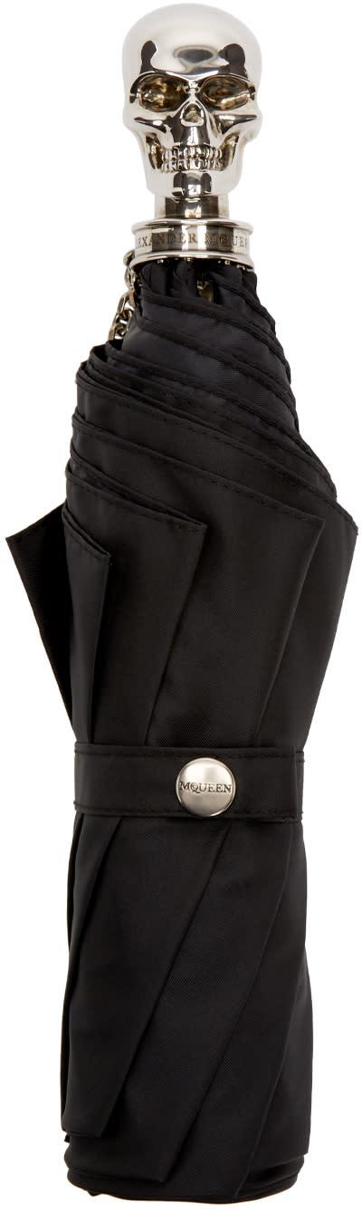 Alexander Mcqueen Black and Silver Skull Compact Umbrella