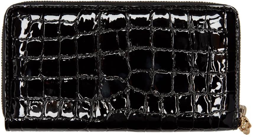 Alexander Mcqueen Black Croc-embossed Wallet