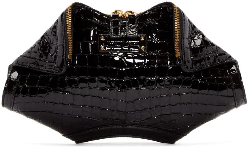 Alexander Mcqueen Black Croc-embossed Small De Manta Clutch
