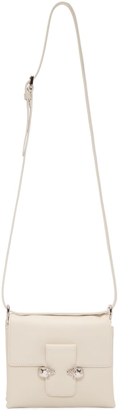 Alexander Mcqueen White Twin Skulls Shoulder Bag