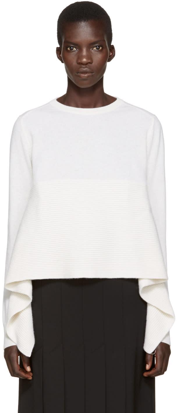 Alexander Mcqueen Ivory Cashmere Asymmetric Sweater