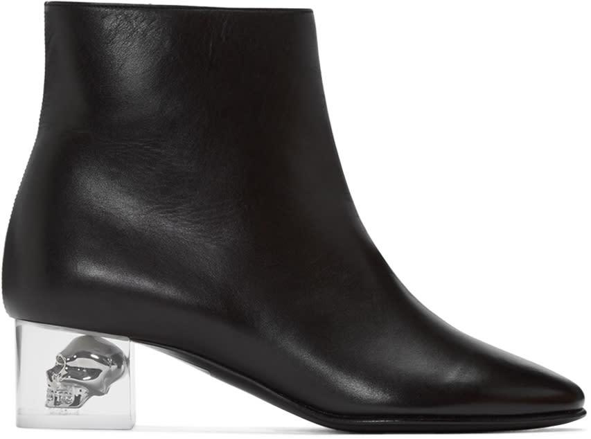 Alexander Mcqueen Black Skull Ankle Boots