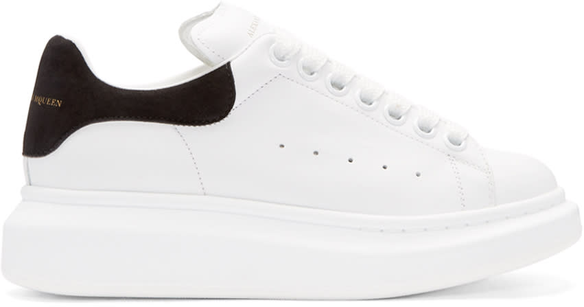 Alexander Mcqueen White and Black Leather Sneakers