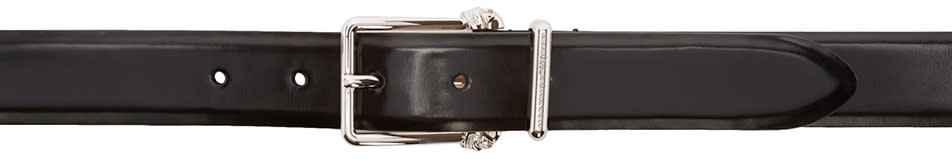 Alexander Mcqueen Black and Silver Leather Skull Belt
