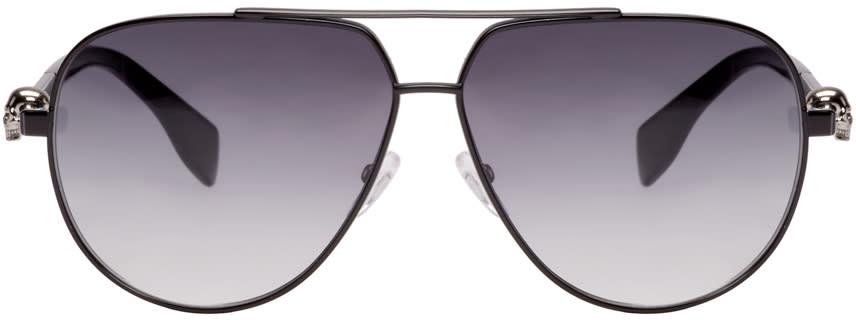 Alexander Mcqueen Black Skull Aviator Sunglasses