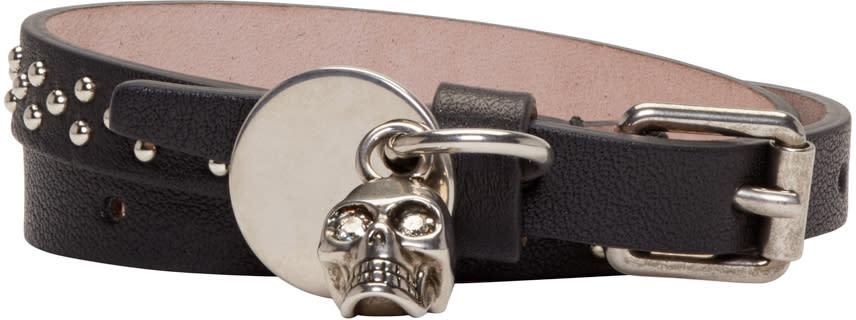 Alexander Mcqueen Black Leather Studded Skull Charm Bracelet