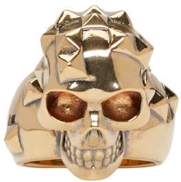 Alexander Mcqueen Gold Brass Skull Ring
