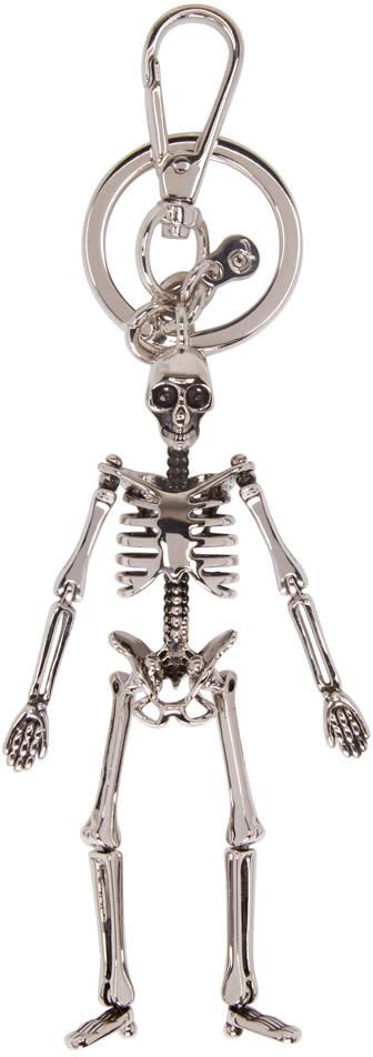 Alexander Mcqueen Silver Skeleton Keyring.