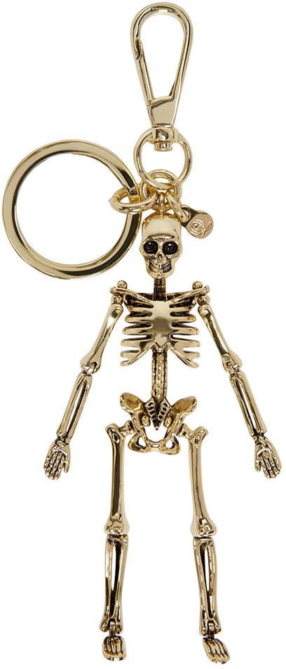 Alexander Mcqueen Gold Skeleton Keychain