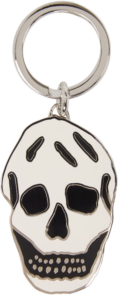 Alexander Mcqueen Silver and White Skull Keychain