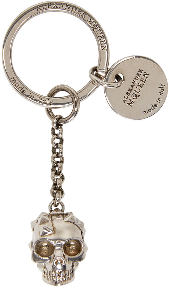 Alexander Mcqueen Silver Studded Skull Keychain