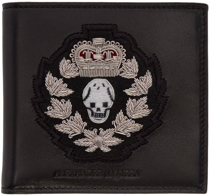 Alexander Mcqueen Black Leather Embroidered Wallet