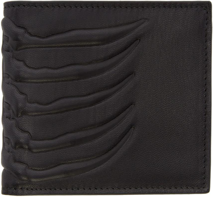 Alexander Mcqueen Black Leather Rib Cage Wallet