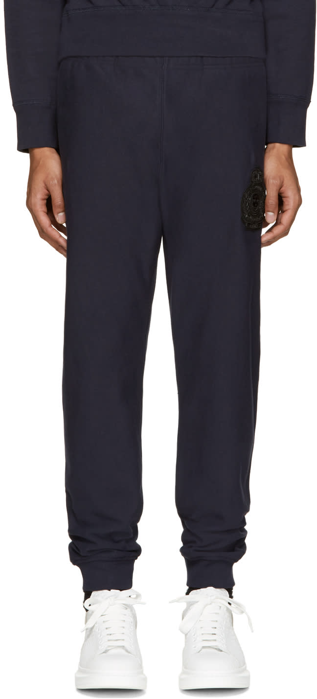 Alexander Mcqueen Navy Embroidered Lounge Pants